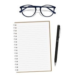 Notebook glasses pen vector image
