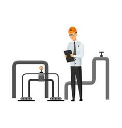 oil petroleum industry engineer or oilman looking vector image