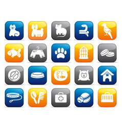 pets care icon set on buttons vector image