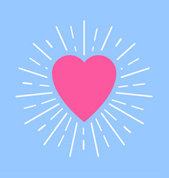 pink heart with white sun rays on blue background vector image
