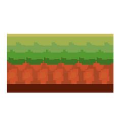 Pixel video game ground scene vector