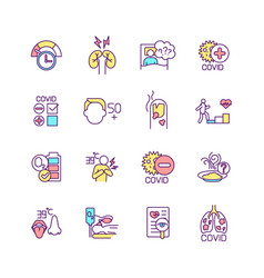 Post-covid syndrome rgb color icons set vector