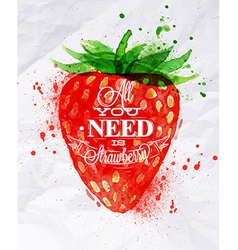 Poster watermelon strawberry vector
