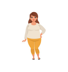 Pretty fat woman posing isolated on white cartoon vector