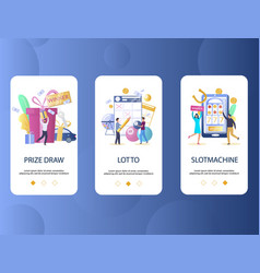 prize draw lotto slot machine mobile app vector image