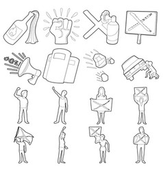 Protest items icons set outline style vector
