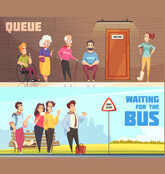 Queue people banners set vector