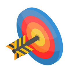 red blue yellow target icon isometric style vector image