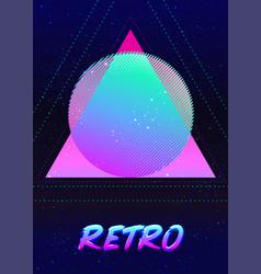 Retro futurism vintage 80s or 90s geometric style vector
