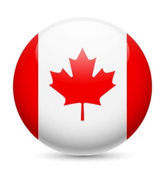 Round glossy icon of canada vector