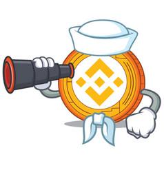 Sailor with binocular binance coin mascot catoon vector