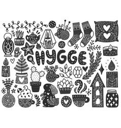 scandinavian doodles elements vector image