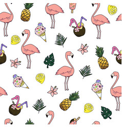 Seamless cartoon doodle pattern exotic vector