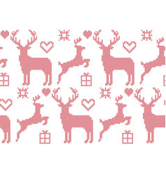 seamless pattern cross stitch reindeer christmas vector image