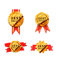 set bright golden badges with red tape glossy vector image
