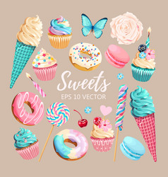 Set ice cream muffins and macaroons vector
