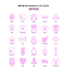 set of 25 feminish office flat color pink icon set vector image