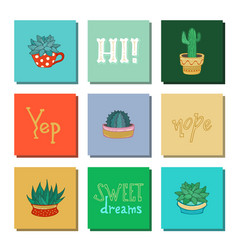 set of indoor plant icons vector image