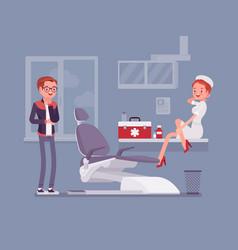Sexy nurse flirting with patient vector