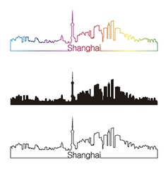 Shanghai skyline linear style with rainbow vector