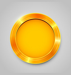 shiny golden empty coin isolated on white vector image