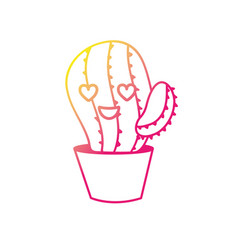 silhouette kawaii cute in love cactus plant vector image