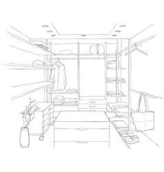 Sketch drawing of a dressing room with furniture vector