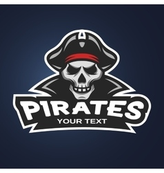 Skull pirates on a dark background vector image