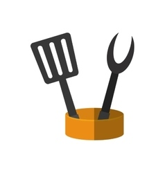 Spatula and fork grill container utensil kitchen vector