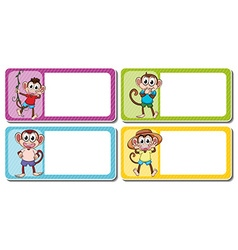 Square lables with cute monkeys vector