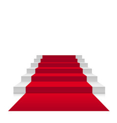 stairs 3d with red carpet scarlet floor vector image