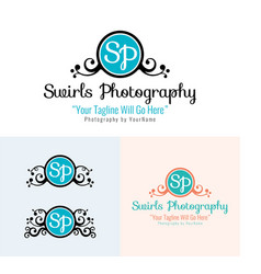 Swirls photography logo and icon vector