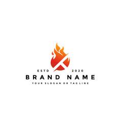 T letter logo fire design vector