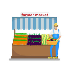 the farmer with a basket of vegetables and fruit vector image