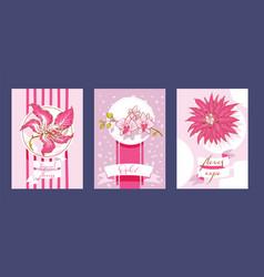 tropical flowers set cards summer design vector image