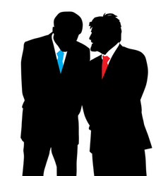 Two businessmen discreet conversation vector