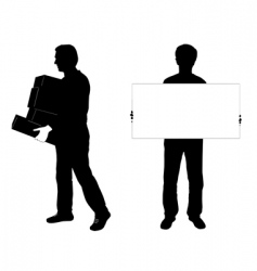 Two men silhouettes vector