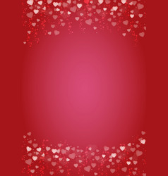 Vertical red background with hearts header and vector