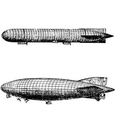 Vintage engraving an airship dirigible aircraft vector
