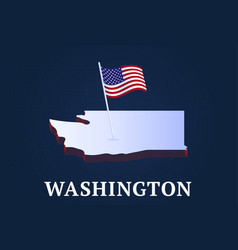 washington state isometric map and usa national vector image