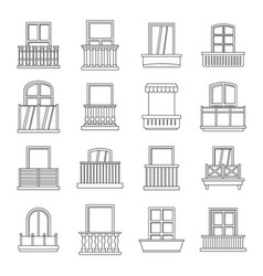 window forms icons set balcony outline style vector image