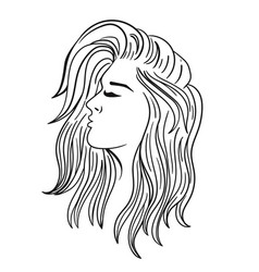 women s hairstyle for long hair black outline vector image
