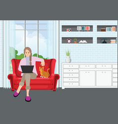 Young professional woman working from home vector