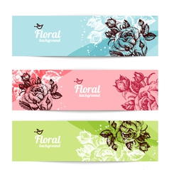 Banners with floral background vector image
