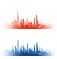 cityscape with fade red and blue vector image