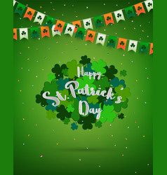 clovers on green background for stpatricks vector image vector image