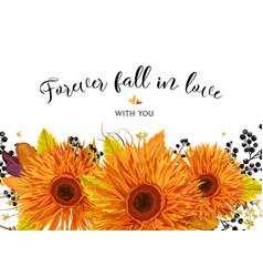 floral card design autumn bright orange gerbera vector image vector image