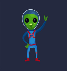 funny green alien with big eyes wearing blue space vector image