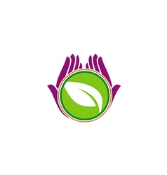 green leaf hand vegetarian beauty logo vector image vector image