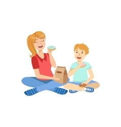 Mother and child eating doughnuts together vector